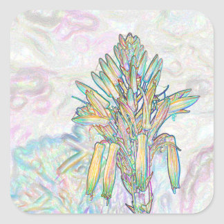 Abstract Pastel Flowers Drawing Square Sticker