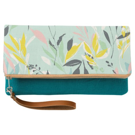 Abstract Pastel Foliage Pattern Clutch