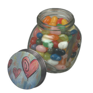 Abstract Pastel Hearts Jelly Belly Candy Jars