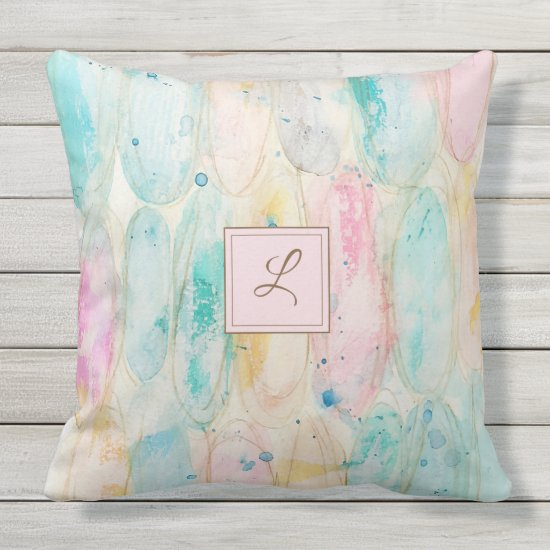 Abstract Pastel Modern Trendy Farmhouse Monogram Outdoor Pillow