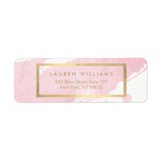 Abstract Pastel Pink Watercolor Brushstrokes Label