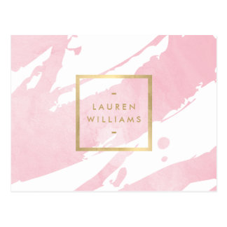 Abstract Pastel Pink Watercolor Brushstrokes Postcard