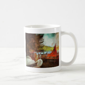 Abstract Patio by the Lake Coffee Mug