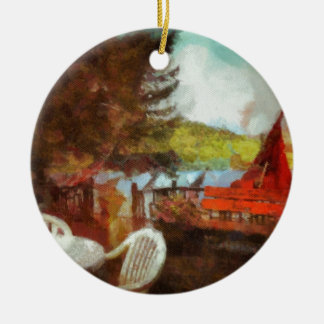 Abstract Patio by the Lake Double-Sided Ceramic Round Christmas Ornament