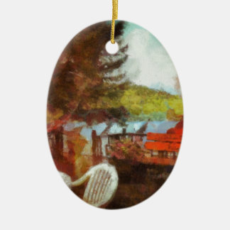 Abstract Patio by the Lake Double-Sided Oval Ceramic Christmas Ornament