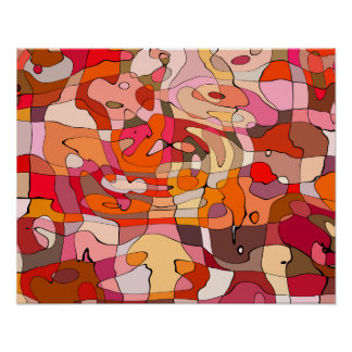 Abstract Pattern Artistic Red Brown Contours Poster