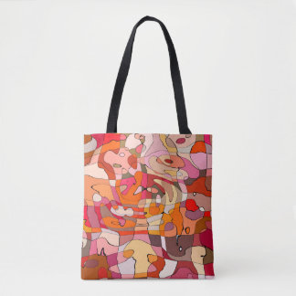 Abstract Pattern Artistic Red Brown Contours Tote Bag