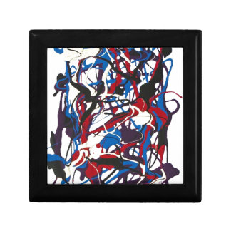 Abstract pattern blue, red, black, white. Modern. Jewelry Box