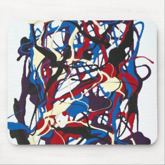 Abstract pattern blue, red, black, white. Modern. Mouse Pad