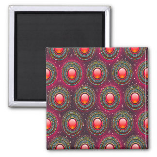 Abstract Pattern Concentric Circles Purple And Pin Magnet