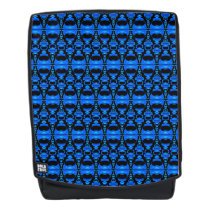 Abstract Pattern Dividers 02 Blue over Black Backpack