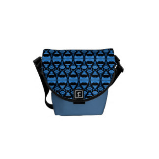 Abstract Pattern Dividers 02 Blue over Black Messenger Bag
