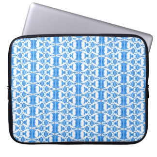 Abstract Pattern Dividers 02 Blue over White Computer Sleeve