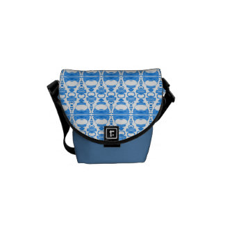 Abstract Pattern Dividers 02 Blue over White Courier Bag