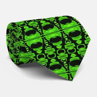 Abstract Pattern Dividers 02 Green and Black Neck Tie