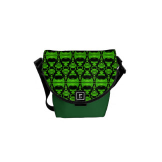 Abstract Pattern Dividers 02 Green Black Messenger Bag
