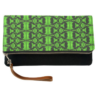 Abstract Pattern Dividers 02 Green over Black Clutch