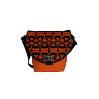Abstract Pattern Dividers 02 Orange over Black Courier Bag