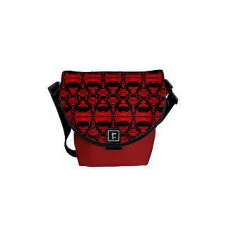 Abstract Pattern Dividers 02 Red Black Courier Bag