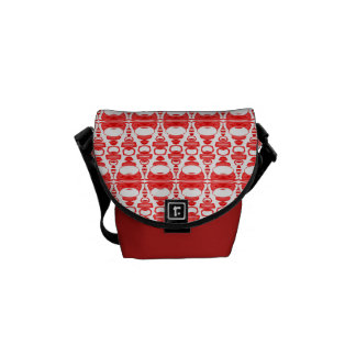 Abstract Pattern Dividers 02 Red over White Courier Bag