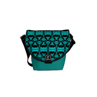 Abstract Pattern Dividers 02 Turquoise Black Messenger Bag