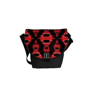 Abstract Pattern Dividers 03 Red and Black Courier Bag