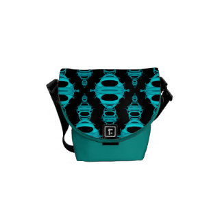 Abstract Pattern Dividers 03 Teal Black Courier Bag