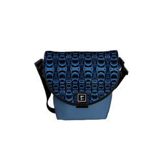 Abstract Pattern Dividers 07 Blue over Black Courier Bag