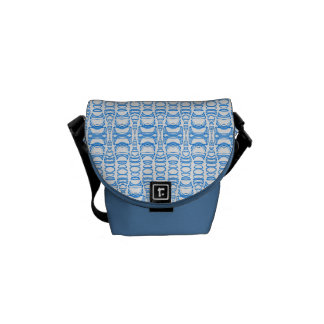 Abstract Pattern Dividers 07 Blue over White Messenger Bag