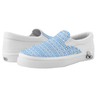 Abstract Pattern Dividers 07 in Blue over White Slip-On Sneakers