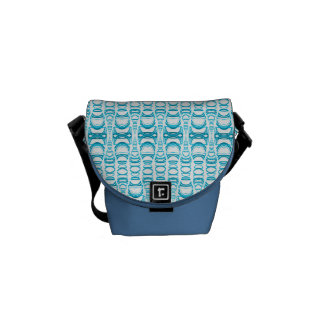 Abstract Pattern Dividers 07 in Turquoise White Messenger Bag