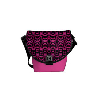 Abstract Pattern Dividers 07 Pink Black Courier Bag