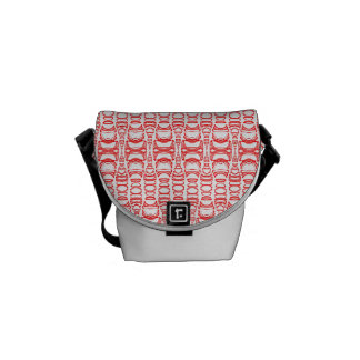 Abstract Pattern Dividers 07 Red over White Messenger Bag