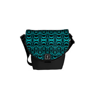 Abstract Pattern Dividers 07 Turquoise Black Messenger Bag