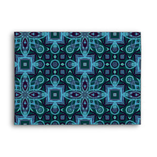 Abstract Pattern Floral Art Blue Envelope