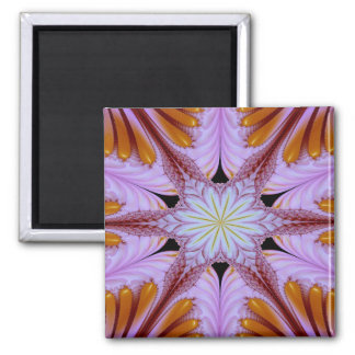 Abstract Pattern Floral Star Purple And Brown Magnet