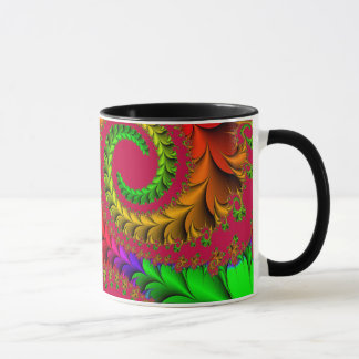 Abstract Pattern Fractal Red And Green Mug