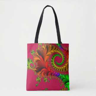 Abstract Pattern Fractal Red And Green Tote Bag