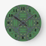 Abstract Pattern green and blue Round Wall Clocks