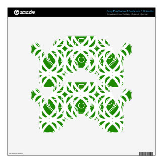 Abstract pattern - green and white. PS3 controller skin
