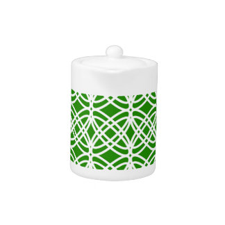 Abstract pattern - green and white. teapot