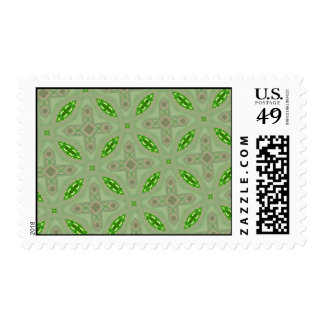 Abstract Pattern Green Postage Stamps