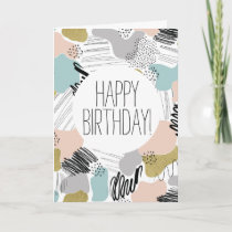 Abstract Pattern Happy Birthday Card