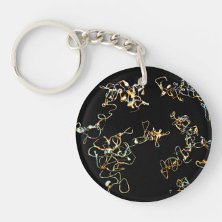 Abstract Pattern in Black and Gold Color. Keychain