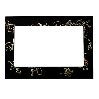 Abstract Pattern in Black and Gold Color. Magnetic Photo Frame