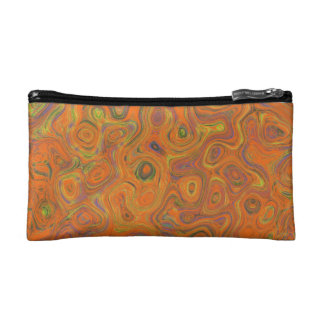 Abstract Pattern in Orange, Purple and Green Swirl Makeup Bags