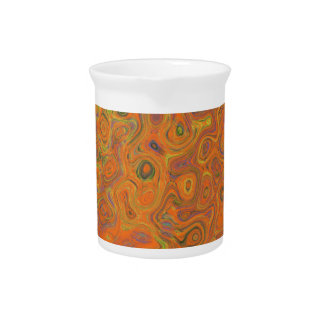 Abstract Pattern in Orange, Purple and Green Swirl Pitcher