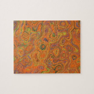Abstract Pattern in Orange, Purple and Green Swirl Puzzles