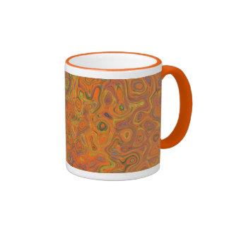 Abstract Pattern in Orange, Purple and Green Swirl Ringer Mug