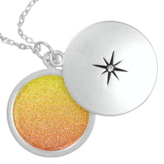 Abstract pattern in red and yellow round locket necklace